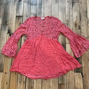 Flutter tunic Lace Bell Sleeve Coral Pink